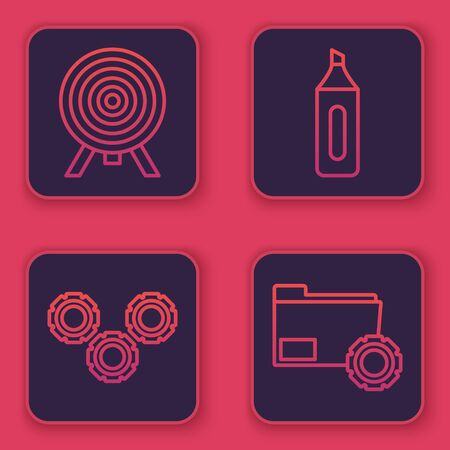 Set line Target, Gear, Marker pen and Folder settings with gears. Blue square button. Vector Illustration
