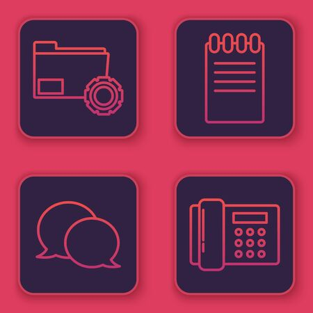 Set line Folder settings with gears, Speech bubble chat, Notebook and Telephone. Blue square button. Vector