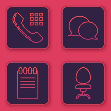 Set line Telephone handset, Notebook, Speech bubble chat and Office chair. Blue square button. Vector Ilustracja