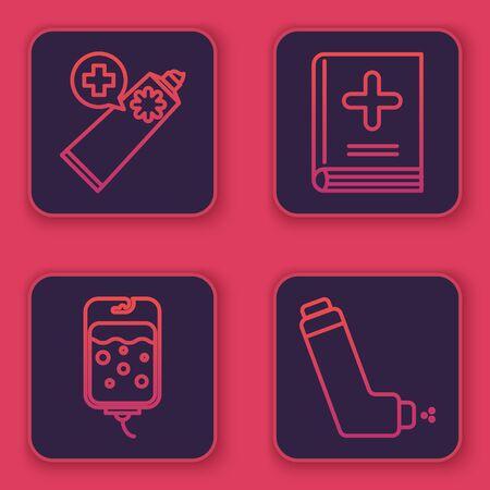Set line Ointment cream tube medicine, IV bag, Medical book and Inhaler. Blue square button. Vector