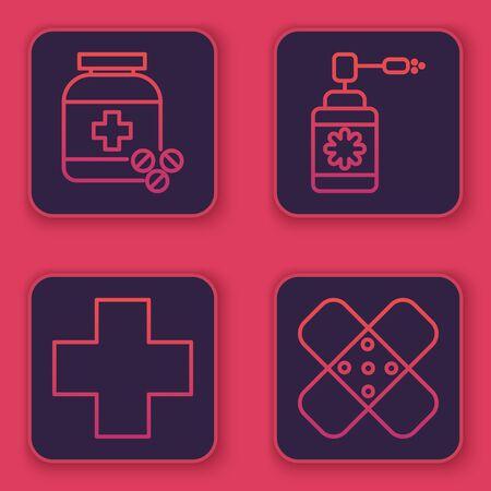 Set line Medicine bottle and pills, Cross hospital medical, Medical bottle with nozzle spray and Crossed bandage plaster. Blue square button. Vector Иллюстрация