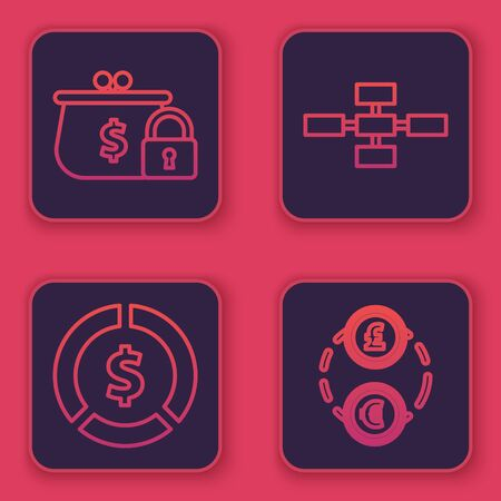 Set line Closed wallet with lock, Coin money with dollar symbol, Business hierarchy organogram chart infographics and Money exchange. Blue square button. Vector Çizim
