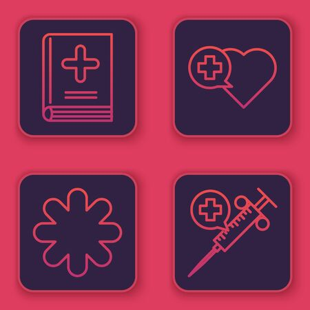 Set line Medical book, Cross hospital medical, Heart with a cross and Medical syringe with needle. Blue square button. Vector