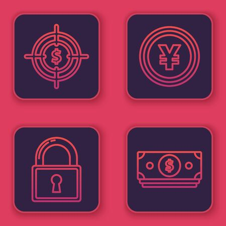 Set line Target with dollar symbol, Lock, Coin money with Yen symbol and Stacks paper money cash. Blue square button. Vector
