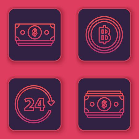 Set line Stacks paper money cash, Clock 24 hours, Cryptocurrency coin Bitcoin and Stacks paper money cash. Blue square button. Vector