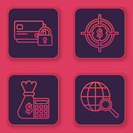 Set line Credit card with lock, Calculator with money bag, Target with dollar symbol and Magnifying glass with globe. Blue square button. Vector
