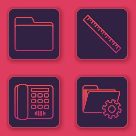 Set line Document folder, Telephone, Ruler and Folder settings with gears. Blue square button. Vector