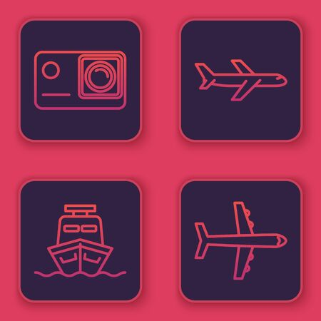 Set line Action extreme camera, Ship, Plane and Plane. Blue square button. Vector