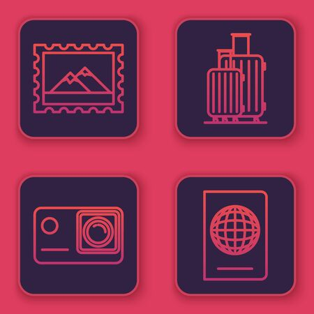 Set line Postal stamp and Mountains, Action extreme camera, Suitcase for travel and Passport with biometric data. Blue square button. Vector