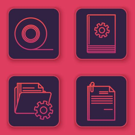 Set line Scotch, Folder settings with gears, User manual and File document and paper clip. Blue square button. Vector