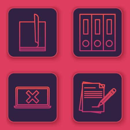 Set line File document, Laptop and cross mark on screen, Office folders with papers and documents and Blank notebook and pencil with eraser. Blue square button. Vector Illustration