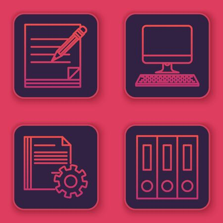 Set line Blank notebook and pencil with eraser, Document settings with gears, Computer monitor with keyboard and Office folders with papers and documents. Blue square button. Vector