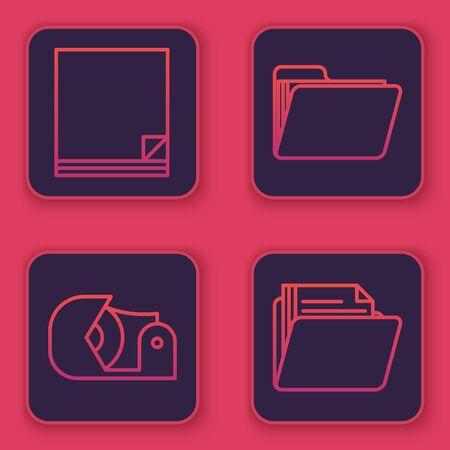 Set line File document, Scotch, Document folder and Document folder. Blue square button. Vector