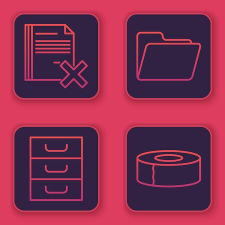 Set line Delete file document, Drawer with documents, Document folder and Scotch. Blue square button. Vector Illustration