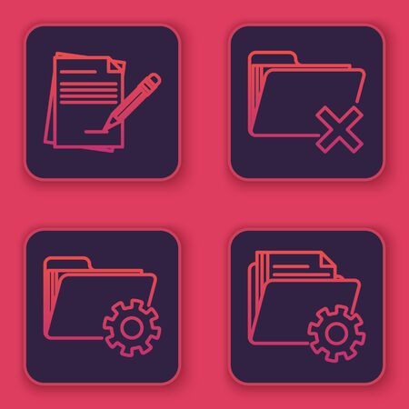 Set line Blank notebook and pencil with eraser, Folder settings with gears, Delete folder and Folder settings with gears. Blue square button. Vector Illustration
