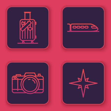 Set line Suitcase for travel and stickers, Photo camera, Train and Wind rose. Blue square button. Vector