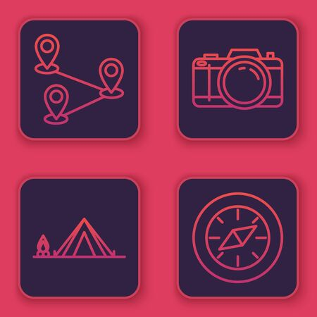 Set line Route location, Tourist tent with wood fire, Photo camera and Compass. Blue square button. Vector 일러스트