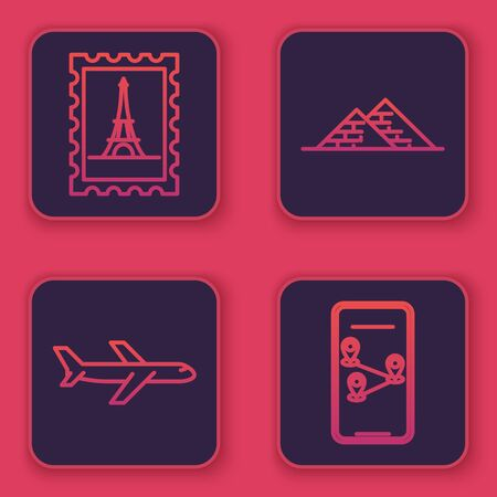 Set line Postal stamp and Eiffel tower, Plane, Egypt pyramids and Infographic of city map navigation. Blue square button. Vector Illusztráció