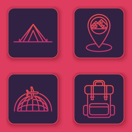 Set line Tourist tent, Globe with flying plane, Map pointer with Egypt pyramids and Hiking backpack. Blue square button. Vector
