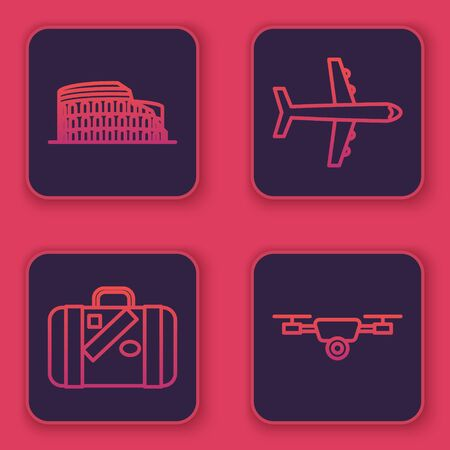 Set line Coliseum in Rome, Italy, Suitcase for travel and stickers, Plane and Drone flying with action video camera. Blue square button. Vector