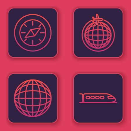 Set line Compass, Earth globe, Globe with flying plane and Train. Blue square button. Vector 向量圖像