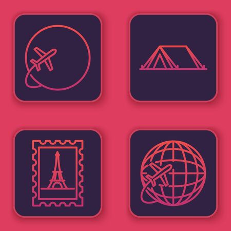 Set line Globe with flying plane, Postal stamp and Eiffel tower, Tourist tent and Globe with flying plane. Blue square button. Vector Illusztráció