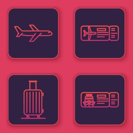 Set line Plane, Suitcase for travel, Airline ticket and Cruise ticket for traveling by ship. Blue square button. Vector
