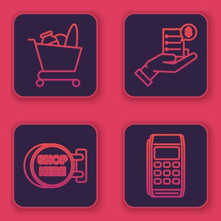 Set line Shopping cart and food, Signboard hanging with an inscription shop here, Human hand holding with blank receipt or bill for payment and Pos terminal. Blue square button. Vector