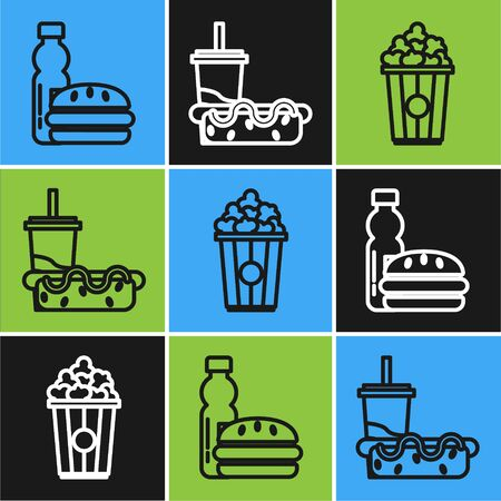 Set line Bottle of water and burger, Popcorn in cardboard box and Paper glass with drinking straw and hotdog icon. Vector Vectores