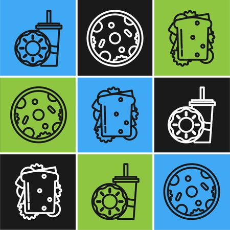Set line Paper glass with drinking straw and donut, Sandwich and Pizza icon. Vector