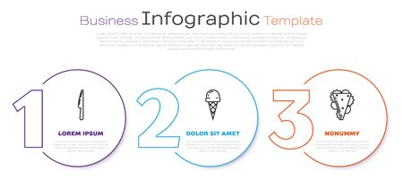 Set line Knife, Ice cream in waffle cone and Sandwich. Business infographic template. Vector