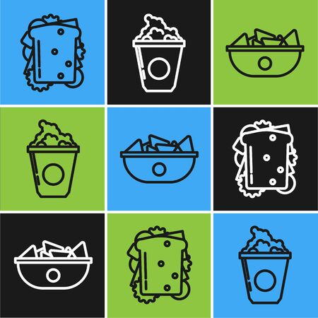 Set line Sandwich, Nachos in plate and Popcorn in cardboard box icon. Vector