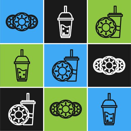 Set line Donut with sweet glaze, Paper glass with drinking straw and donut and Glass of lemonade with drinking straw icon. Vector