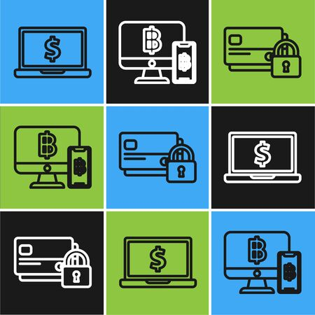 Set line Laptop with dollar symbol, Credit card with lock and Computer monitor with mobile phone and bitcoin icon. Vector