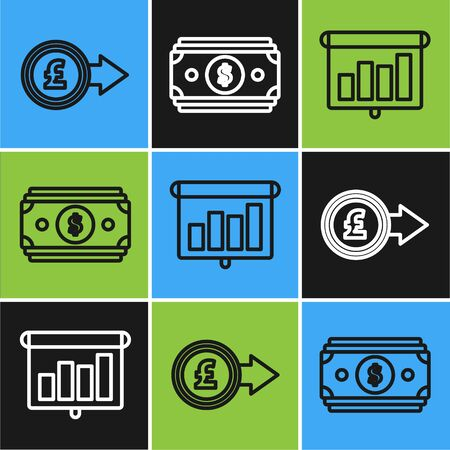 Set line Coin money with pound sterling symbol, Presentation financial board with graph, schedule, chart, diagram, infographic, pie graph and Stacks paper money cash icon. Vector