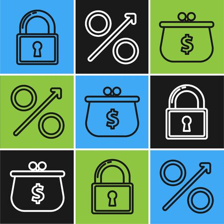 Set line Lock, Wallet with with dollar symbol and Percent up arrow icon. Vector
