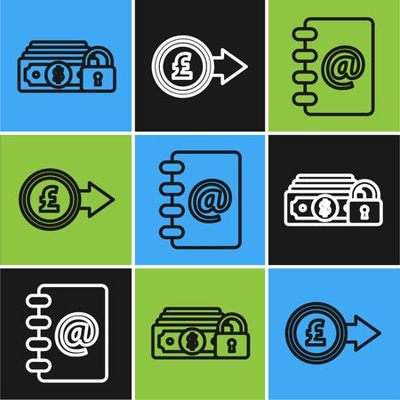 Set line Money with lock, Address book and Coin money with pound sterling symbol icon. Vector