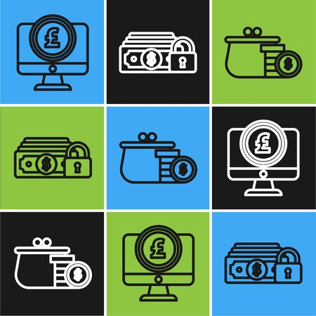 Set line Computer monitor with pound sterling symbol, Wallet with coins and Money with lock icon. Vector