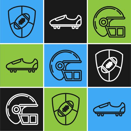 Set line American Football ball and shield, American football helmet and Soccer or football shoes with spikes icon. Vector