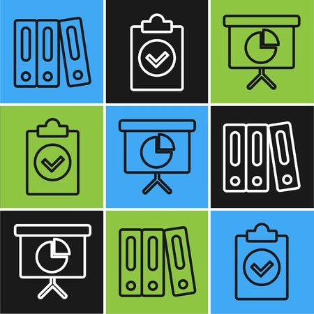 Set line Office folders with papers and documents, Presentation financial board with graph, schedule, chart, diagram, infographic, pie graph and Completed task icon. Vector Illustration