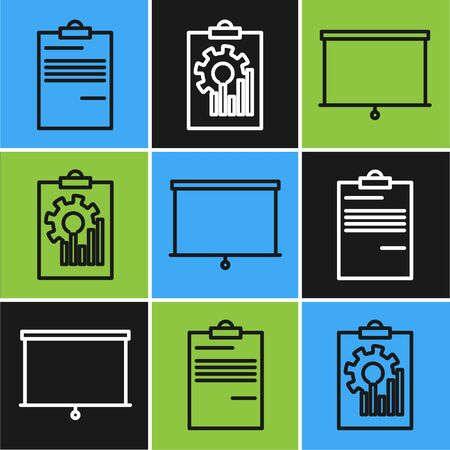 Set line Document, Chalkboard and Clipboard with graph chart icon. Vector