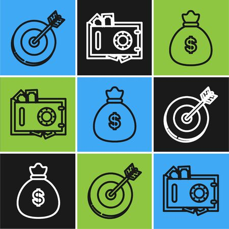 Set line Target, Money bag and Safe and money icon. Vector