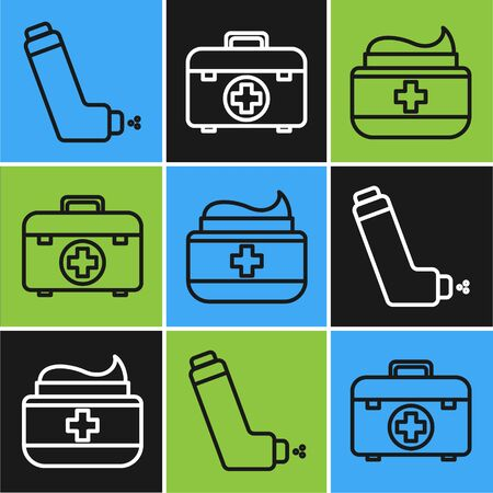 Set line Inhaler, Ointment cream tube medicine and First aid kit icon. Vector Illustration