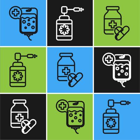 Coloque la bolsa de línea IV, frasco de medicina y píldoras y frasco médico con icono de pulverización de boquilla. Vector