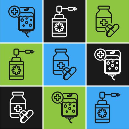 Set line IV bag, Medicine bottle and pills and Medical bottle with nozzle spray icon. Vector