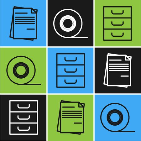 Set line File document, Drawer with documents and Scotch icon. Vector