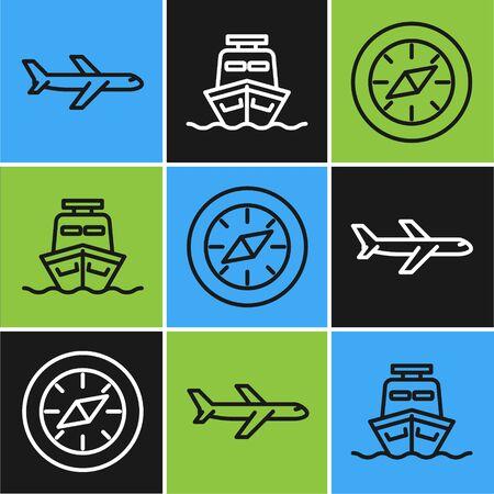 Set line Plane, Compass and Ship icon. Vector