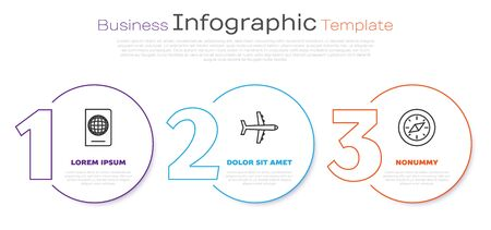 Set line Passport with biometric data, Plane and Compass. Business infographic template. Vector