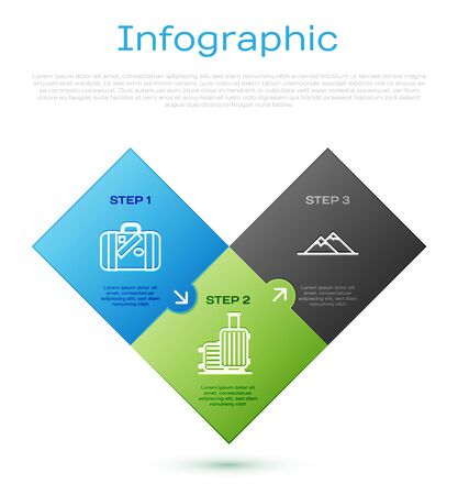 Set line Suitcase for travel and stickers, Mountains, Suitcase for travel and Plane. Business infographic template. Vector Illusztráció