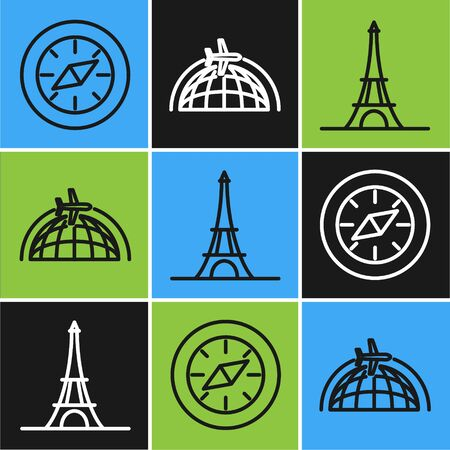 Set line Compass, Eiffel tower and Globe with flying plane icon. Vector